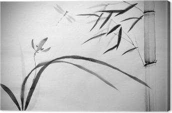 Tuval Baskı Yabani orkide ve bambu