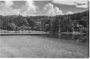 Tuval Baskı Yaz aylarında güzel doğal göl jasna, kranjska gora, slovenya