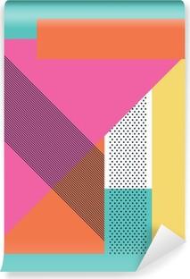Tvättbar Fototapet Abstrakt retro 80 bakgrund med geometriska former och mönster
