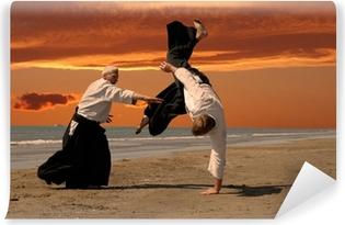 Tvättbar Fototapet Aikido vid solnedgången