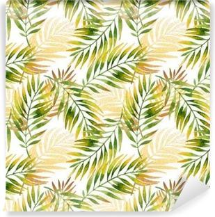 Tvättbar Fototapet Akvarell och gyllene grafiska palmblad sömlösa mönster.