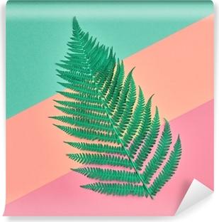 Tvättbar Fototapet Blommiga blad mode koncept. bägge tropiska gröna blad. livlig design. konstgalleri. kreativ ljus färg. minimal stil. sommar moderiktig bakgrund. platt låg