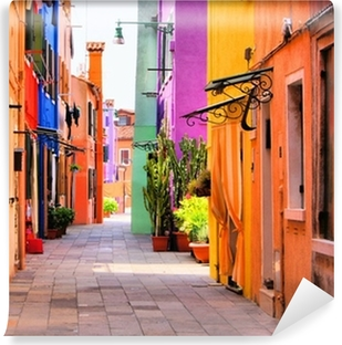 Tvättbar Fototapet Colorful gata i Burano, nära Venedig, Italien