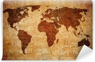 Tvättbar Fototapet Grunge världskarta.