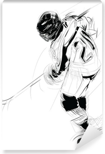 Tvättbar Fototapet Ink att dra illustration av en is hickey spelare