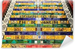 Tvättbar Fototapet Kaklade steg på lapa i Rio de Janeiro Brasilien
