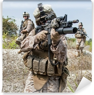 Tvättbar Fototapet Militär operation