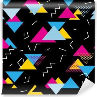Tvättbar Fototapet Seamless geometriskt mönster med magenta, blått, gult trianglar i popkonst, retro 80s stil. Med linjer, sicksack, prick på svart bakgrund .__