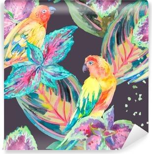 Tvättbar Fototapet Vattenfärg papegojor .Tropical blommor och blad.
