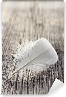 Tvättbar Fototapet Vit fjäder
