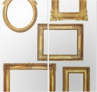 Tweeluik 5 oude houten frames op een witte achtergrond gouden