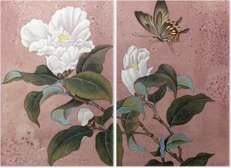 Tweeluik Azalea bloem en vlinder