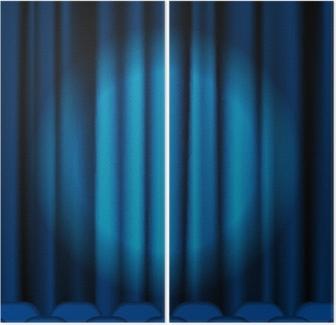 Fotobehang Blauwe gordijnen • Pixers® - We leven om te veranderen