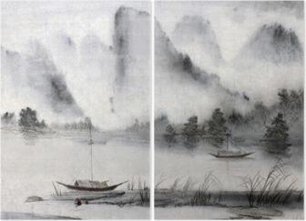 Tweeluik Chinees schilderij
