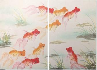 Tweeluik Chinese goudvis schilderij