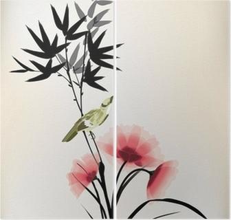 Tweeluik Chinese inkt stijl bloem vogeltekening
