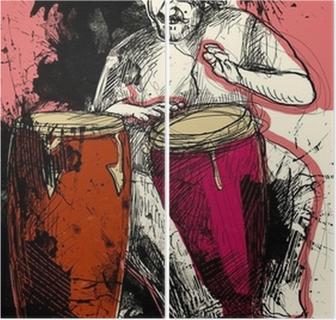 Tweeluik Conga-speler - een hand getekende illustratie van de grunge