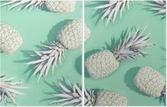 Tweeluik Geschilderde ananas op een pastel groene achtergrond