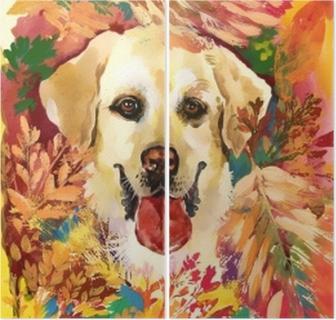 Tweeluik Herfst hond. hand getrokken illustratie
