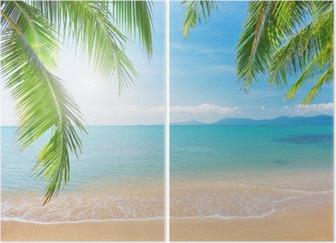 Tweeluik Palmbomen en tropische strand