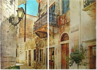 Tweeluik Picturale oude straten van Griekenland