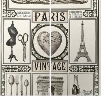 Tweeluik Poster Paris Vintage