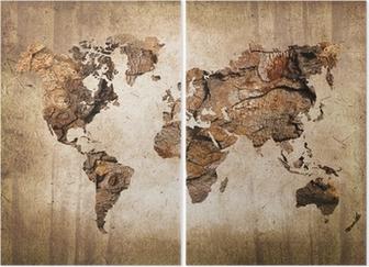 Tweeluik Vintage houten wereldkaart