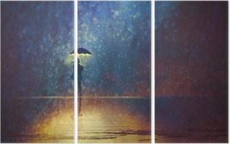 Üç Parçalı Karanlık, dijital resim şemsiye ışıkları altında yalnız kadın