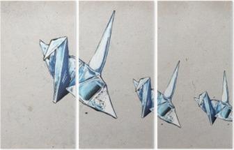 Üç Parçalı Origami vinçler