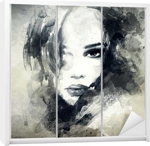 Abstrakti nainen muotokuva Vaatekaappitarra