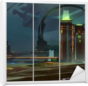 Maalattu yö fantastinen kaupungin horisonttiin Vaatekaappitarra