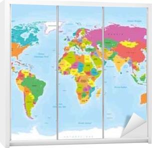 Planisphère mappemonde. tekstiä en français vectorisés Vaatekaappitarra