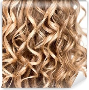 Aaltoileva kihara blondi hiukset lähikuva. karvatyypin koostumus Vinyyli  valokuvatapetti 1fc2559288