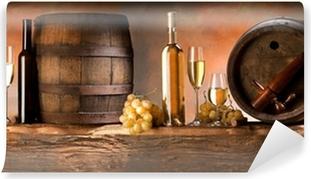 Asetelma valkoisella viinillä Vinyyli valokuvatapetti