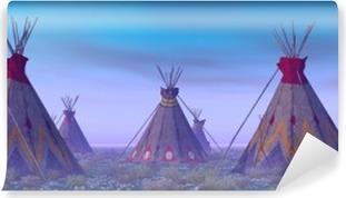 Indian leiri aamunkoitteessa Vinyyli valokuvatapetti