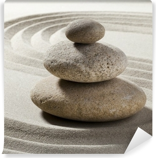 Jardin zen avec sable et galets Vinyyli valokuvatapetti