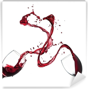 Käsite punaviini roiskumista lasit valkoisella pohjalla Vinyyli valokuvatapetti