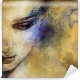 Kaunis nainen kasvot. vesiväri kuva Vinyyli Valokuvatapetti