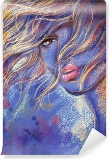Kaunis nainen. vesiväri kuva Vinyyli valokuvatapetti