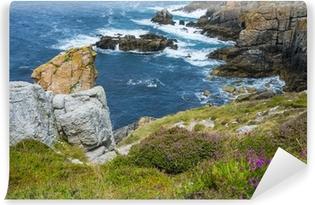 Kaunis rannikkokallioita bretagnissa ranskassa Vinyyli valokuvatapetti