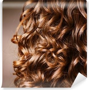 Aaltoileva kihara blondi hiukset lähikuva. karvatyypin koostumus ... e30ece85ec