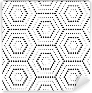 Kuusikulmainen tekstuuri pisteillä. saumaton vektori geometrinen kuvio Vinyyli valokuvatapetti