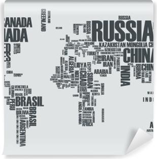 Maailman kartta: maan ääriviivat koostuvat sanoista Vinyyli valokuvatapetti