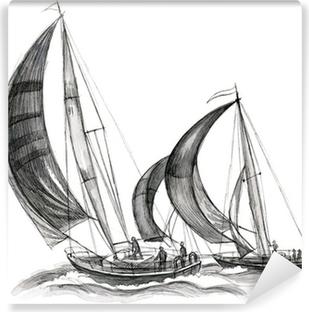 Meri-veneitä Vinyyli valokuvatapetti