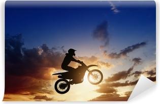 Moottoripyörä ratsastaja siluetti Vinyyli valokuvatapetti