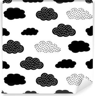 Musta ja valkoinen saumaton kuvio pilvien kanssa. söpö vauva suihku vektori tausta. lapsi piirustustyyli kuva. Vinyyli valokuvatapetti