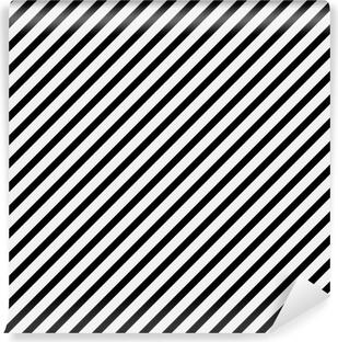 Mustavalkoinen lävistäjä raidallinen kuvio toista taustaa Vinyyli valokuvatapetti