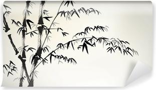 Mustetta maalattu bambu Vinyyli valokuvatapetti