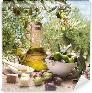 Öljyä ja oliiveja Vinyyli valokuvatapetti