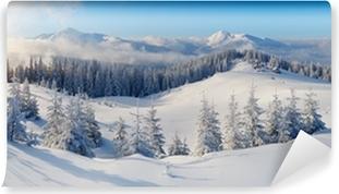 Panoraama talvi vuorille Vinyyli valokuvatapetti